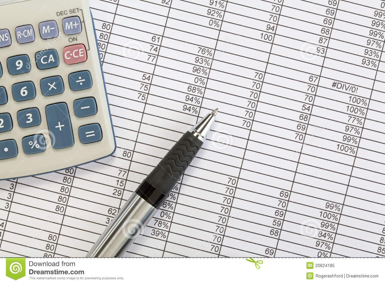 Pen And Calculator With Spreadsheet Royalty Free Stock Photo