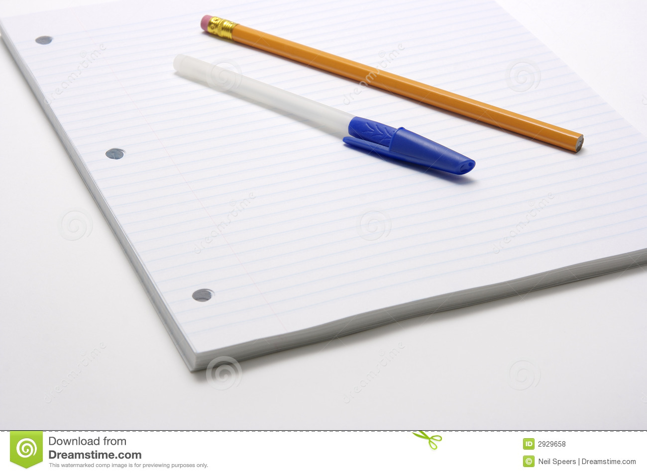 Pen And Pencil On Lined Paper Stock Photo Image Of