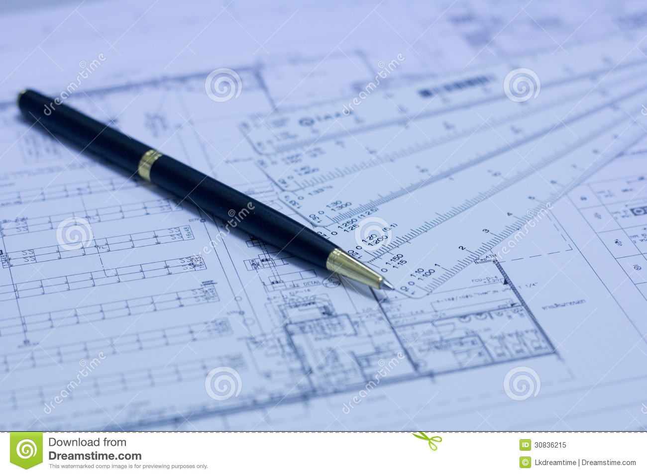 Pen Scale Ruler And Blueprint Stock Image