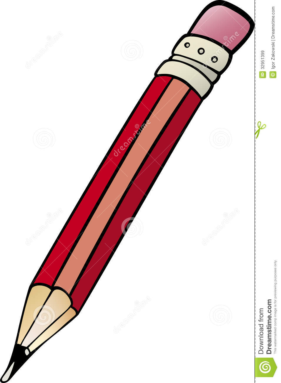 hight resolution of cartoon illustration of pencil with rubber clip art
