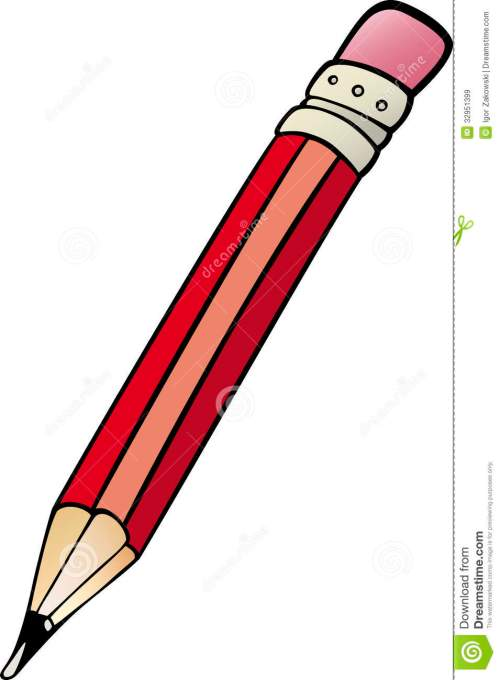 small resolution of cartoon illustration of pencil with rubber clip art