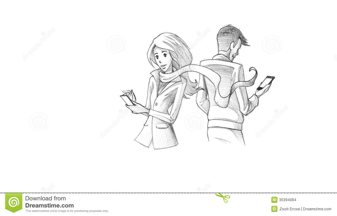 Pencil Illustration Drawing Of Young Couple Texting On