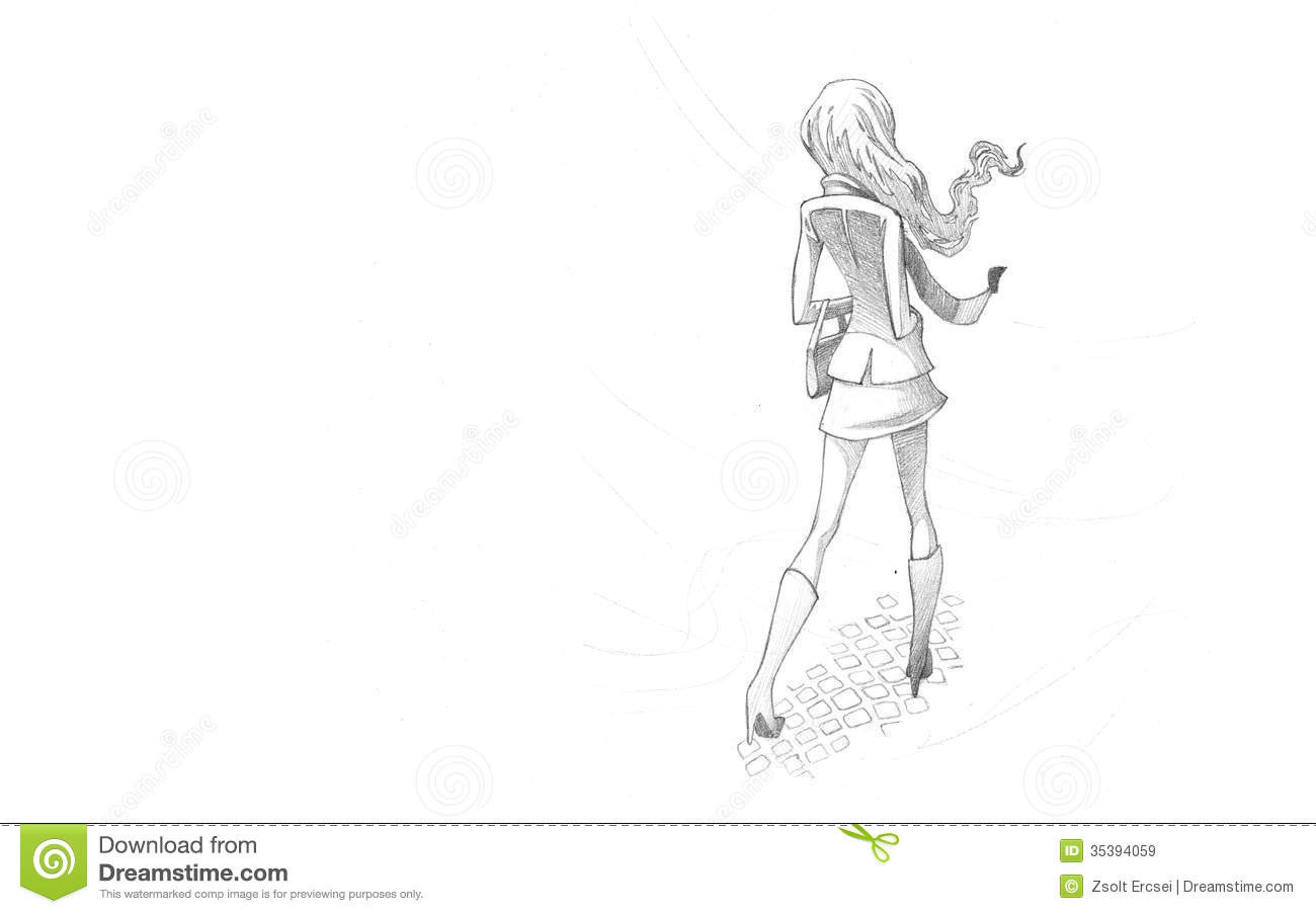 Pencil Illustration, Drawing Of Young Woman In Wind