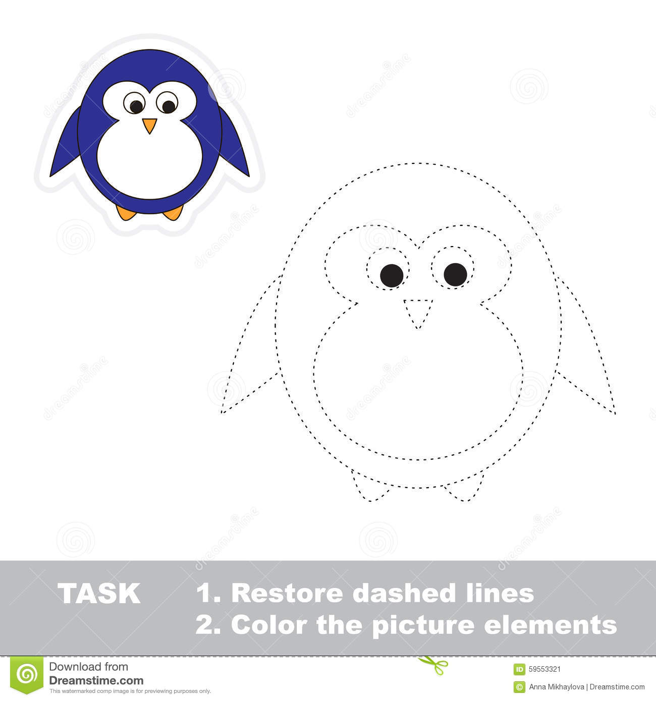 Penguin Restore Dashed Line And Color Picture Stock