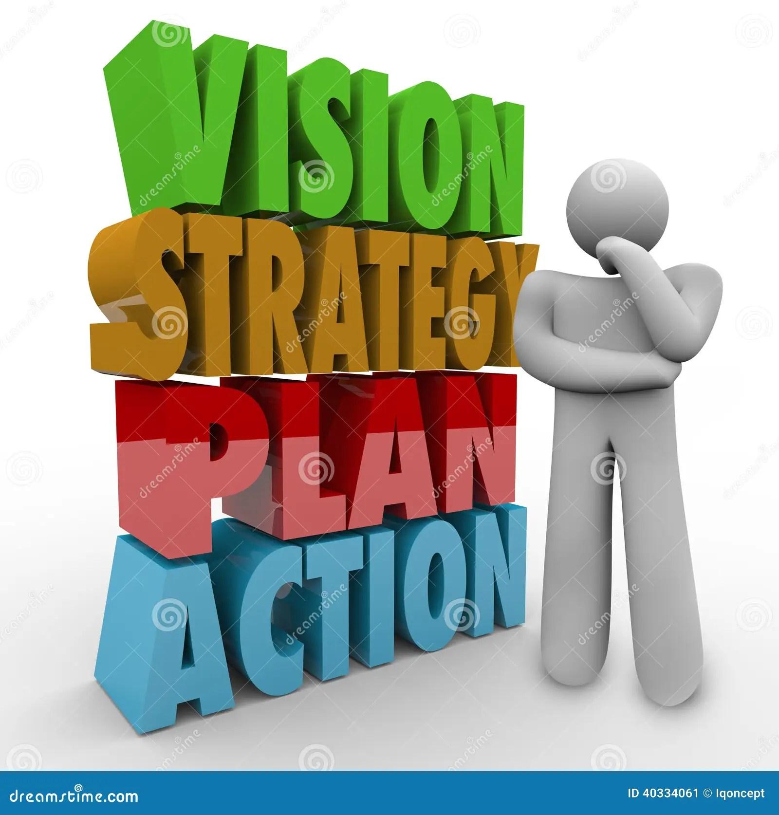 Penseur D Action De Plan De Strategie De Vision Pres Des