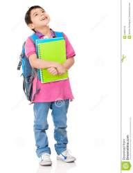 student boy pensive carrying notebooks isolated background dreamstime