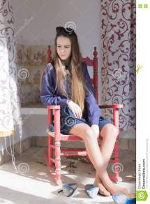 Pensive Woman With Shoes Stock - Of