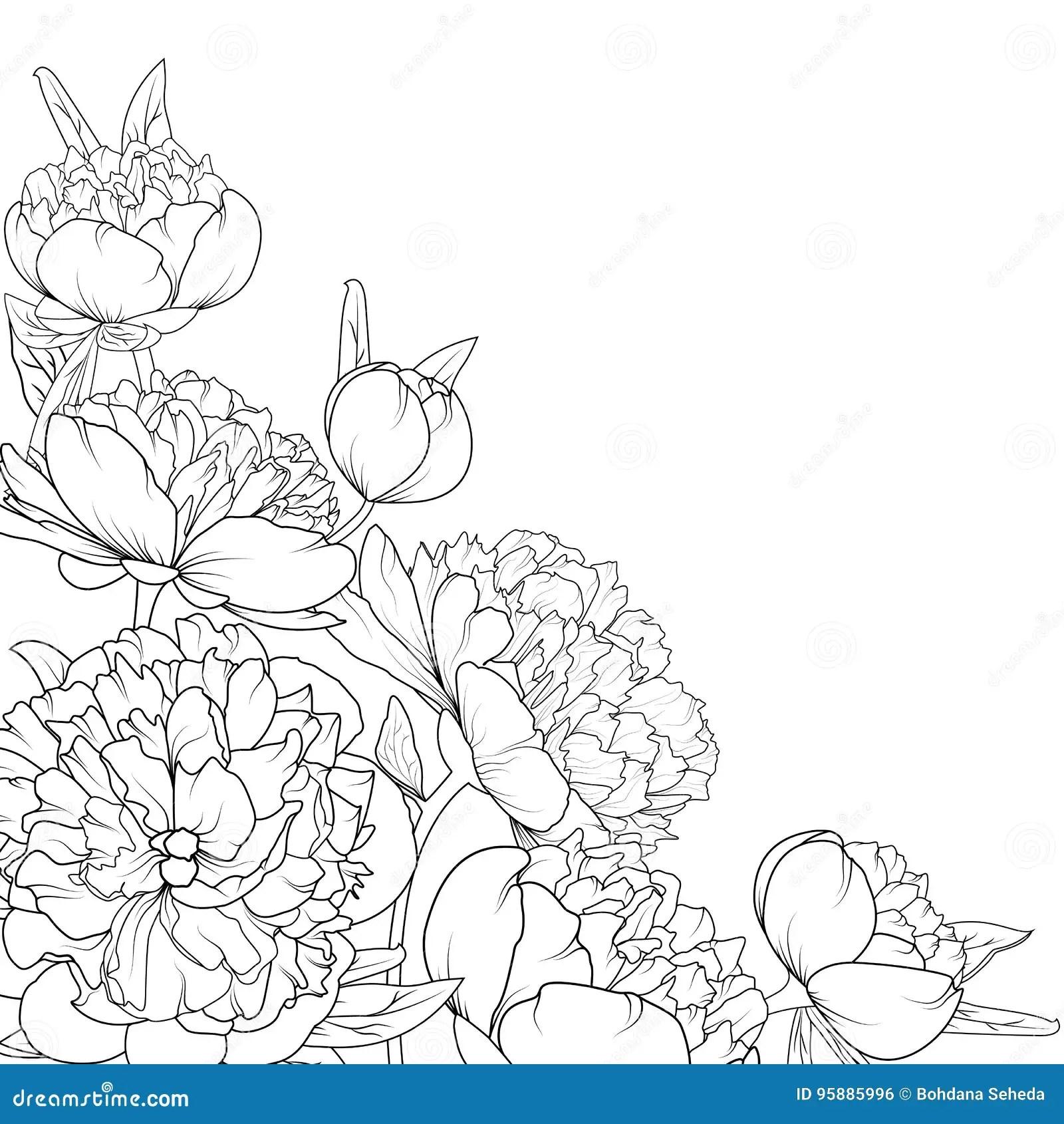 Peony Rose Garden Flowers Composition Corner Frame Stock