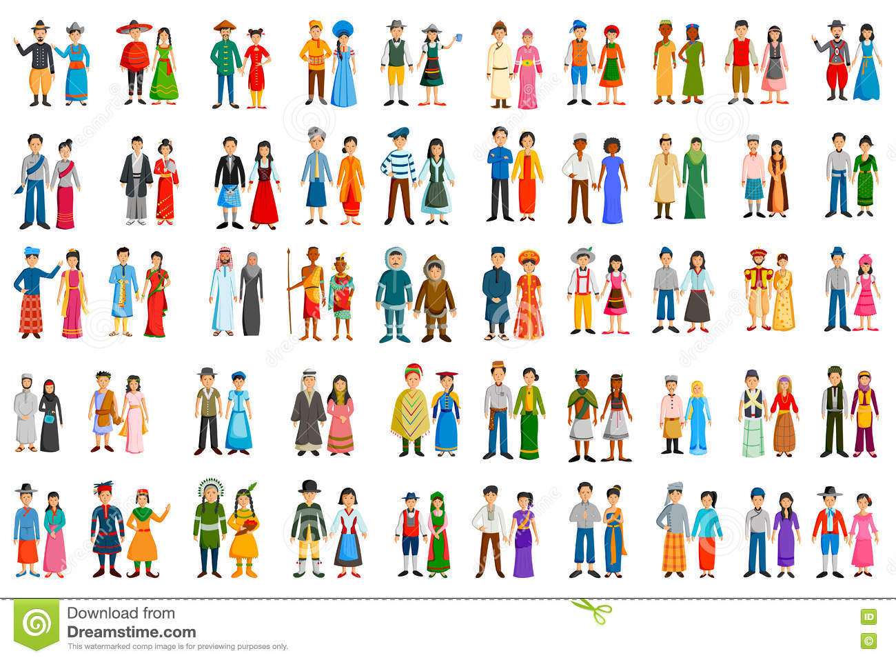 People Of Different Countries In Traditional Costume Stock