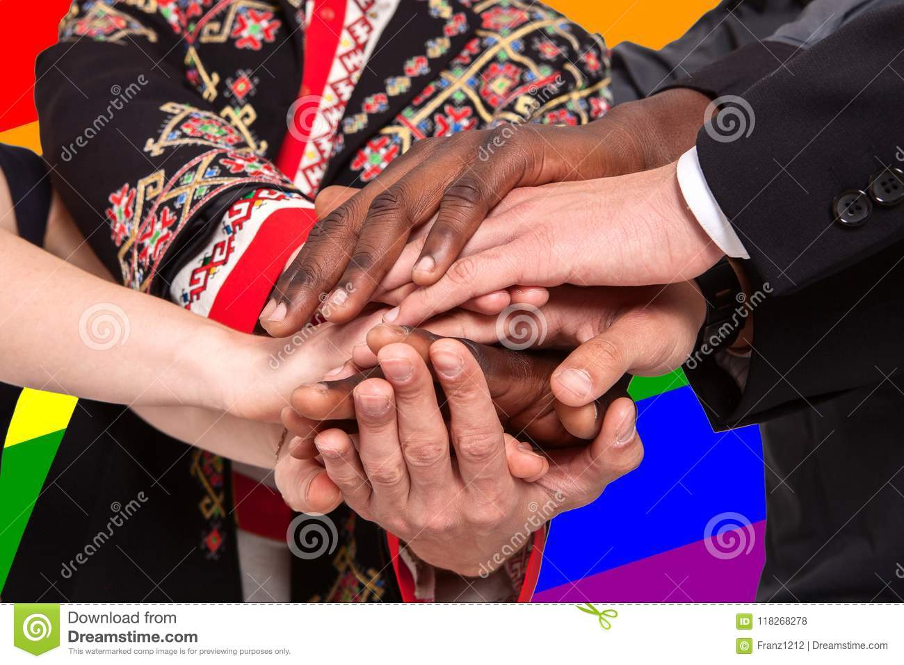 People Of Different Nationalities Hold Hands Against The