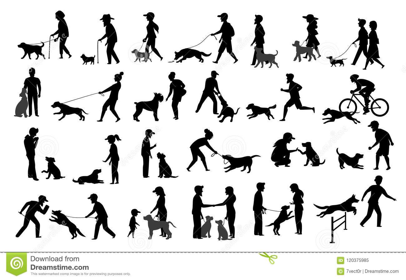 People With Dogs Silhouettes Graphic Setn Woman