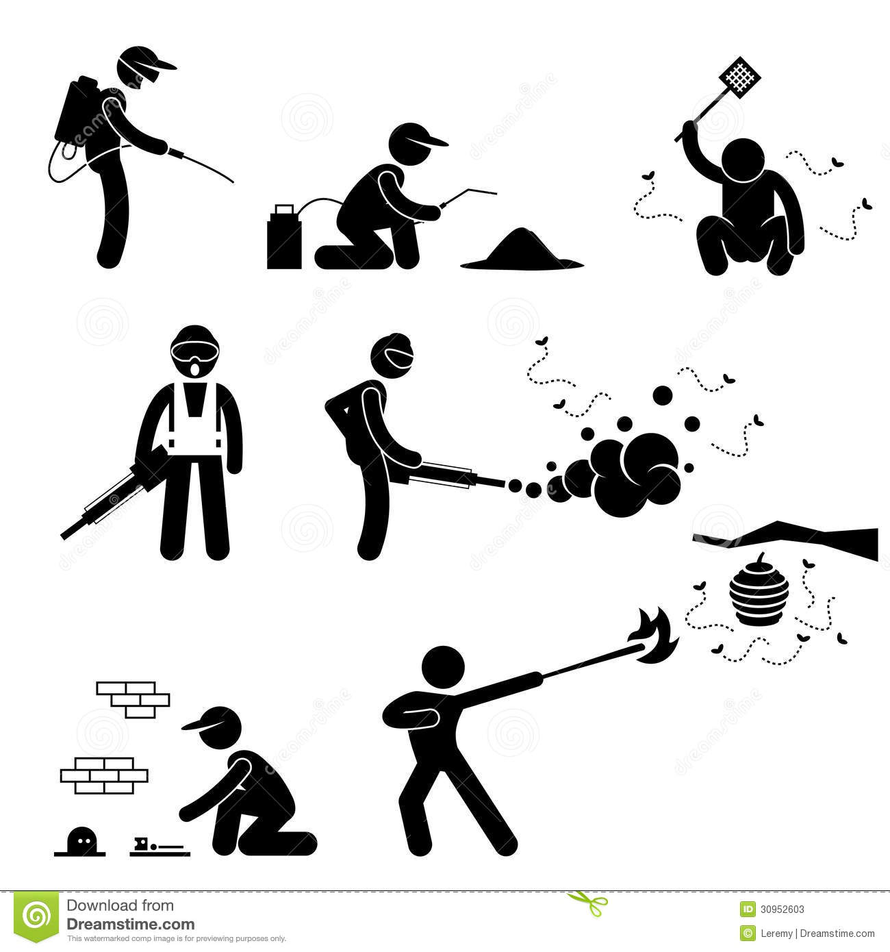 People Exterminator Pest Control Pictogram Stock Vector
