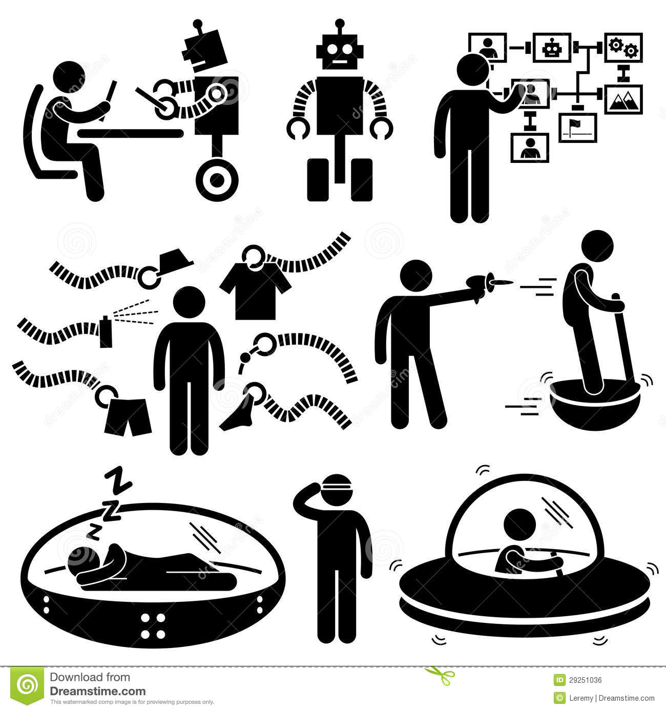 People Future Robot Technology Pictograms Royalty Free