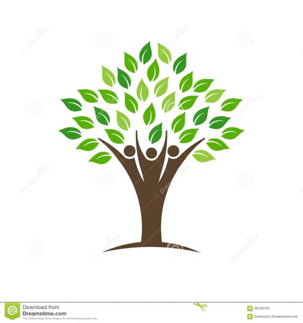People Group Tree Logo With Leaves Trunk And Hands Stock