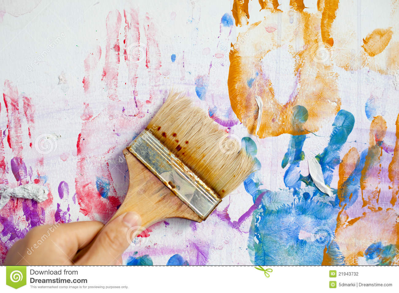 People Hand Painting The Wall Stock Photography