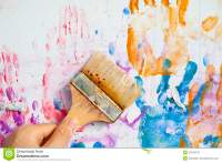 People Hand Painting The Wall Stock Photography - Image ...