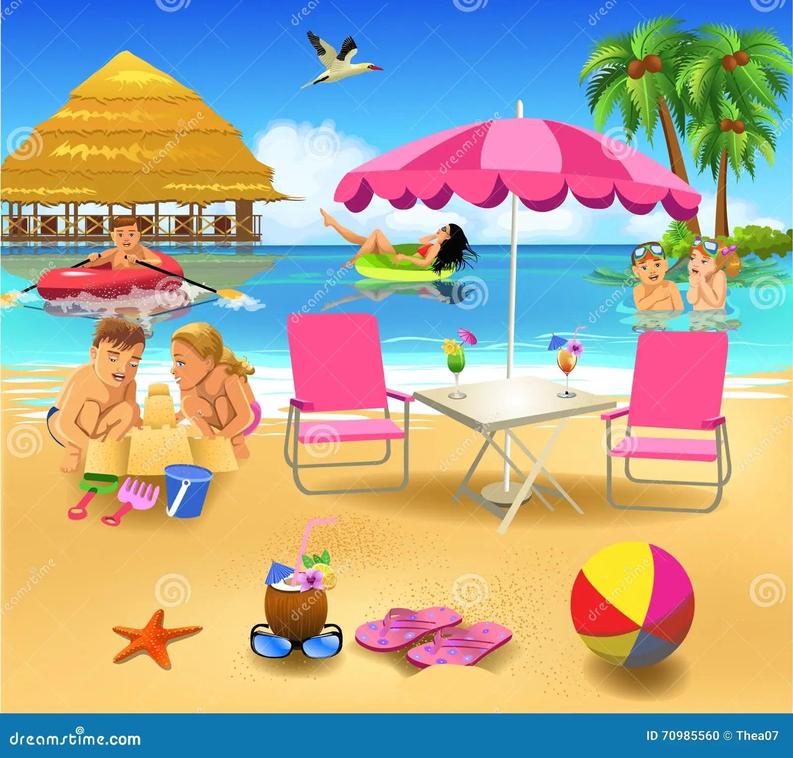 People Having Fun On Summer Vacation Stock Vector Illustration Of Cartoon Elements 70985560