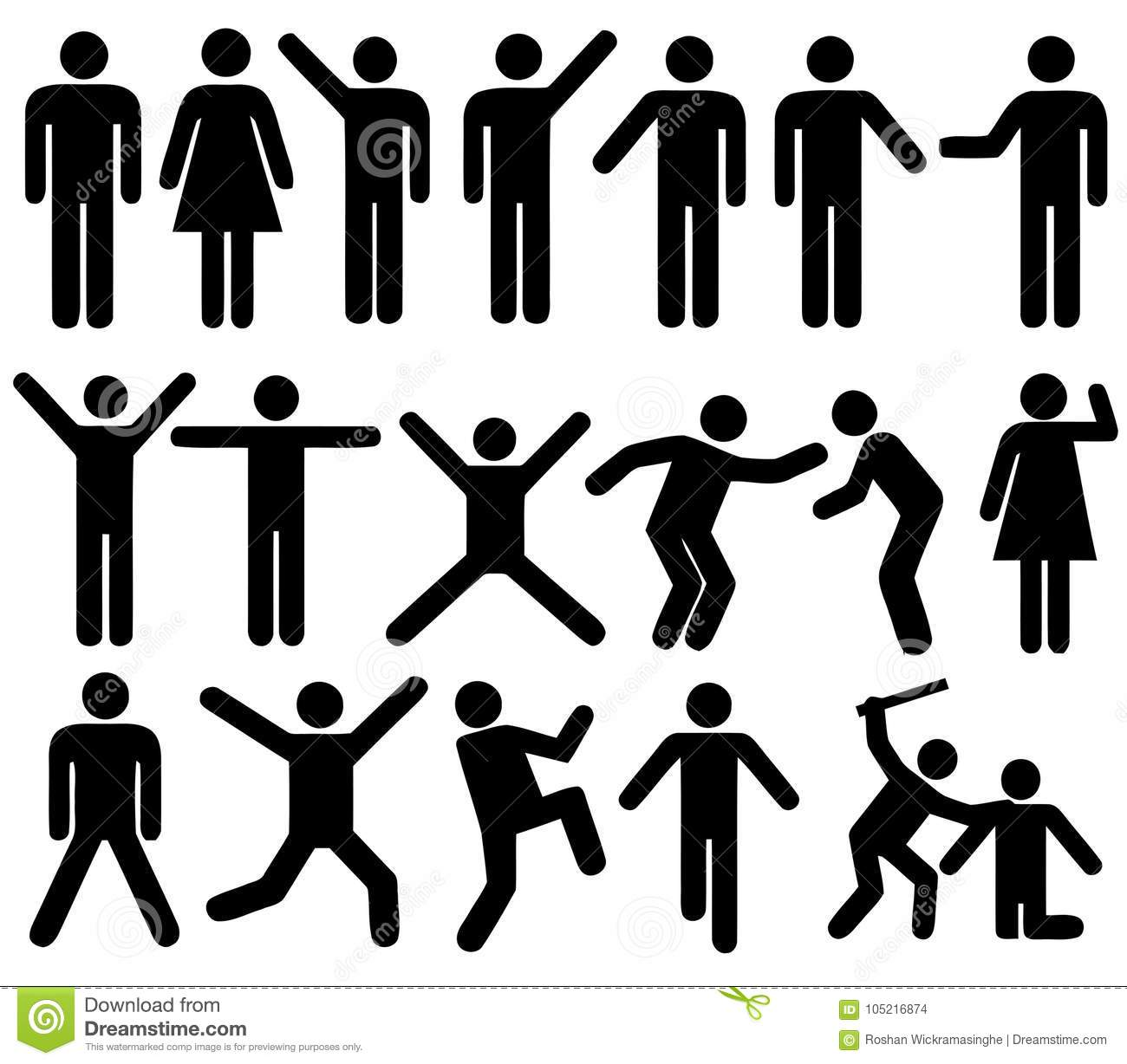 People Men Women Actions Positions Silhouettes Stock