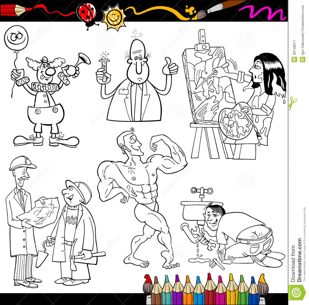 People Occupations Coloring Page Stock Vector