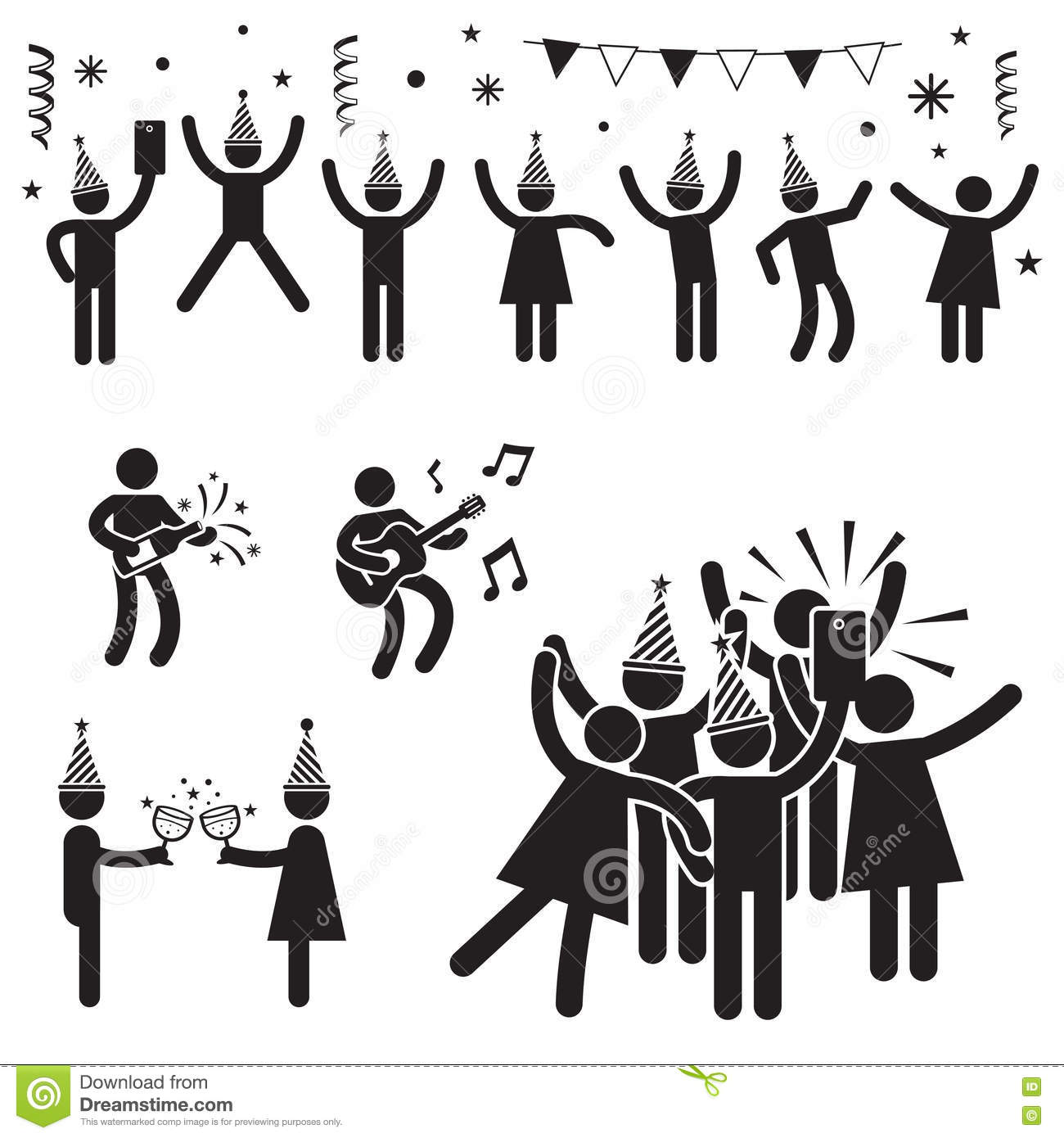 People Party Symbols B Amp W Stock Vector Illustration Of