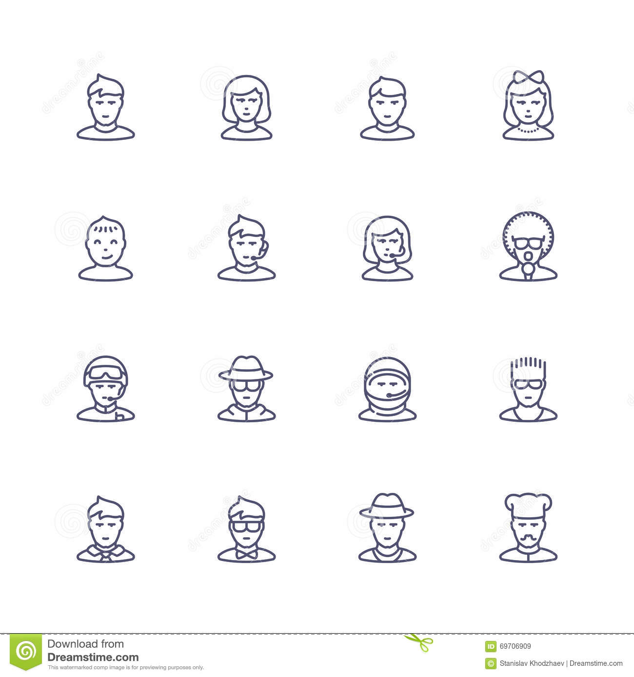 People Personality And Profession Icons Stock Illustration