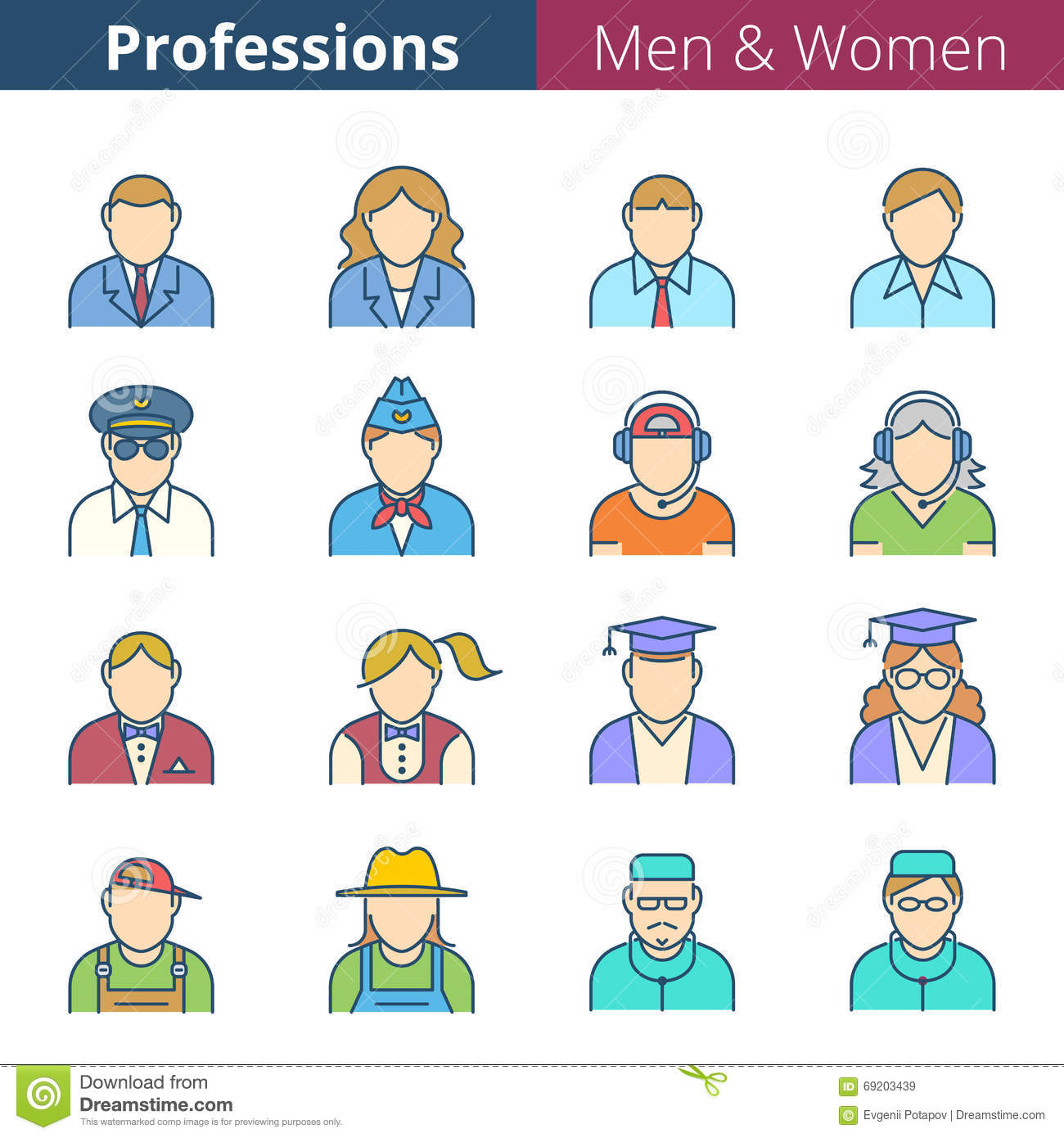 People Professions And Occupations Stock Vector