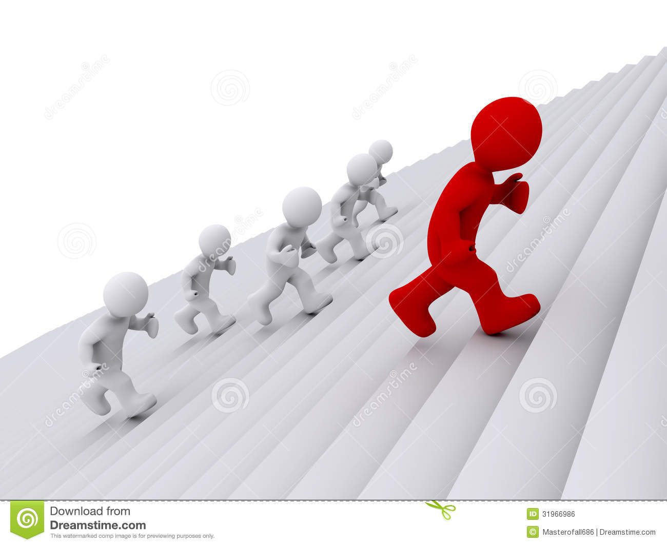 People Running Up The Stairs But One Is The Leader