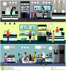 mall shopping electronics consumer vector interior illustration concept phone banners colorful department shutterstock vectors tv royalty elements illustrations appliance machine