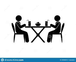 lunch cafe restaurant icon table figure sit silhouettes sticks drinks human stick glass