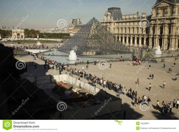 People Waiting In Line Entrance Louvre Paris Editorial - Of Square