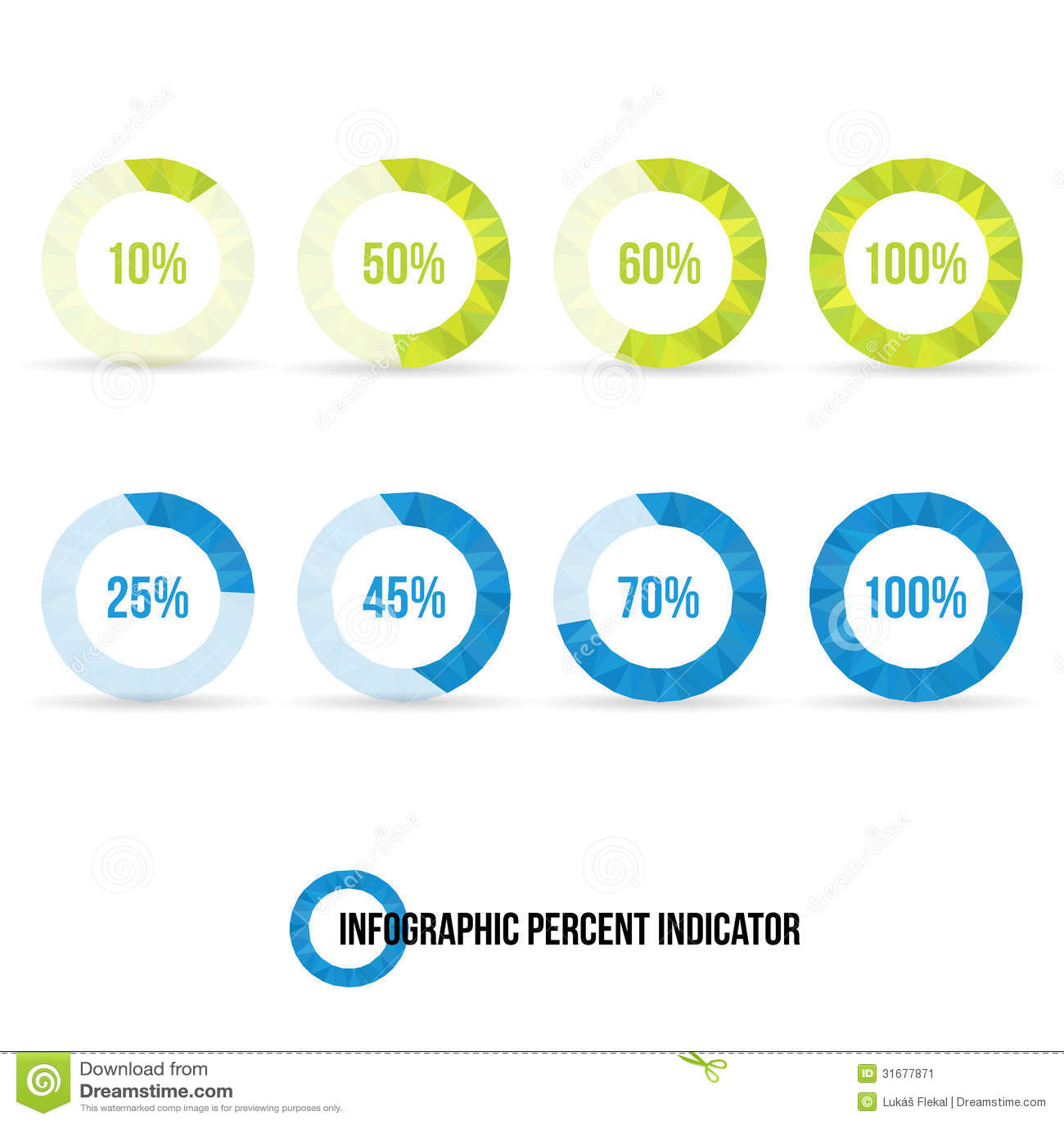 Percent Indicator Pie Chart Stock Illustration