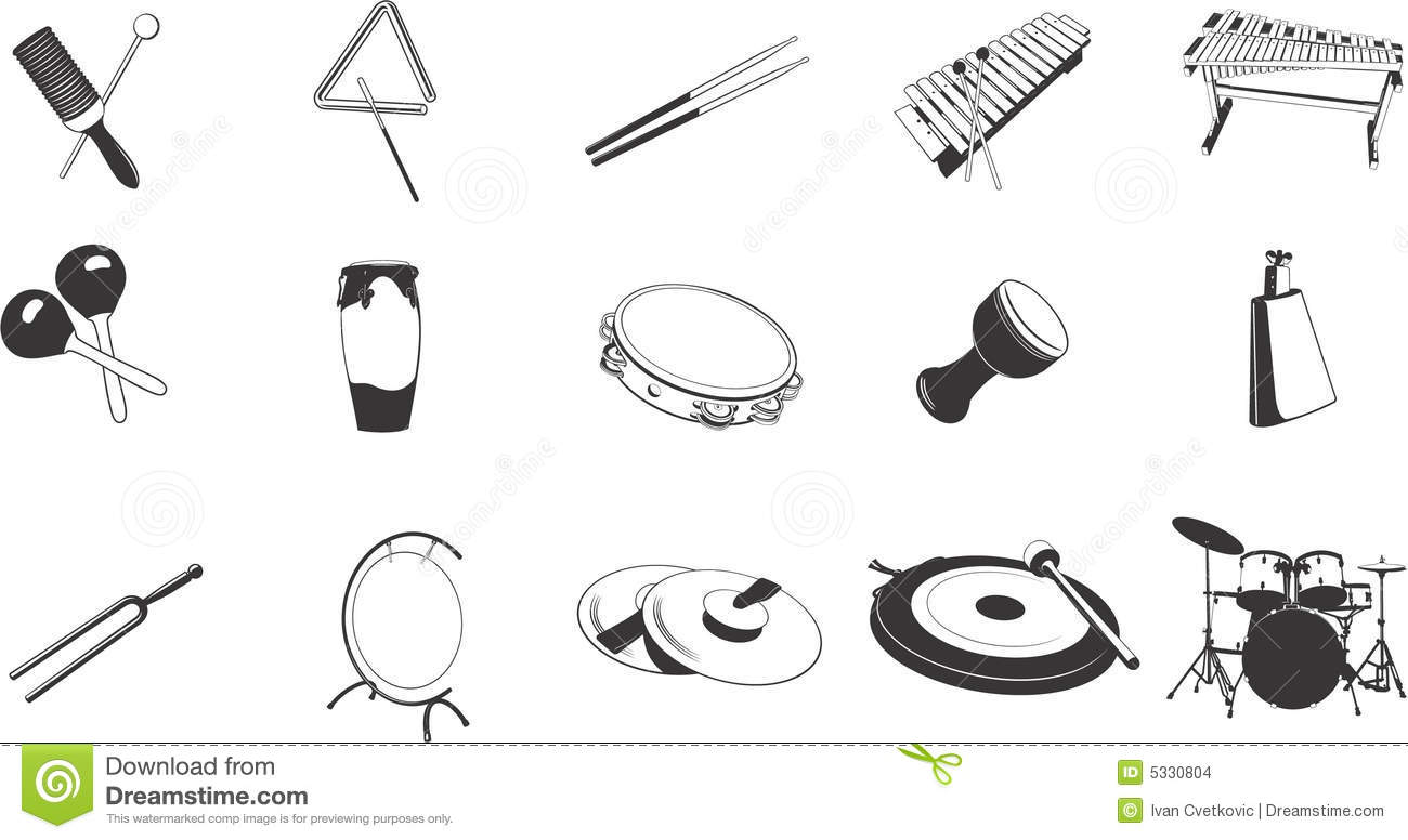Percussion Instruments Icons Stock Images