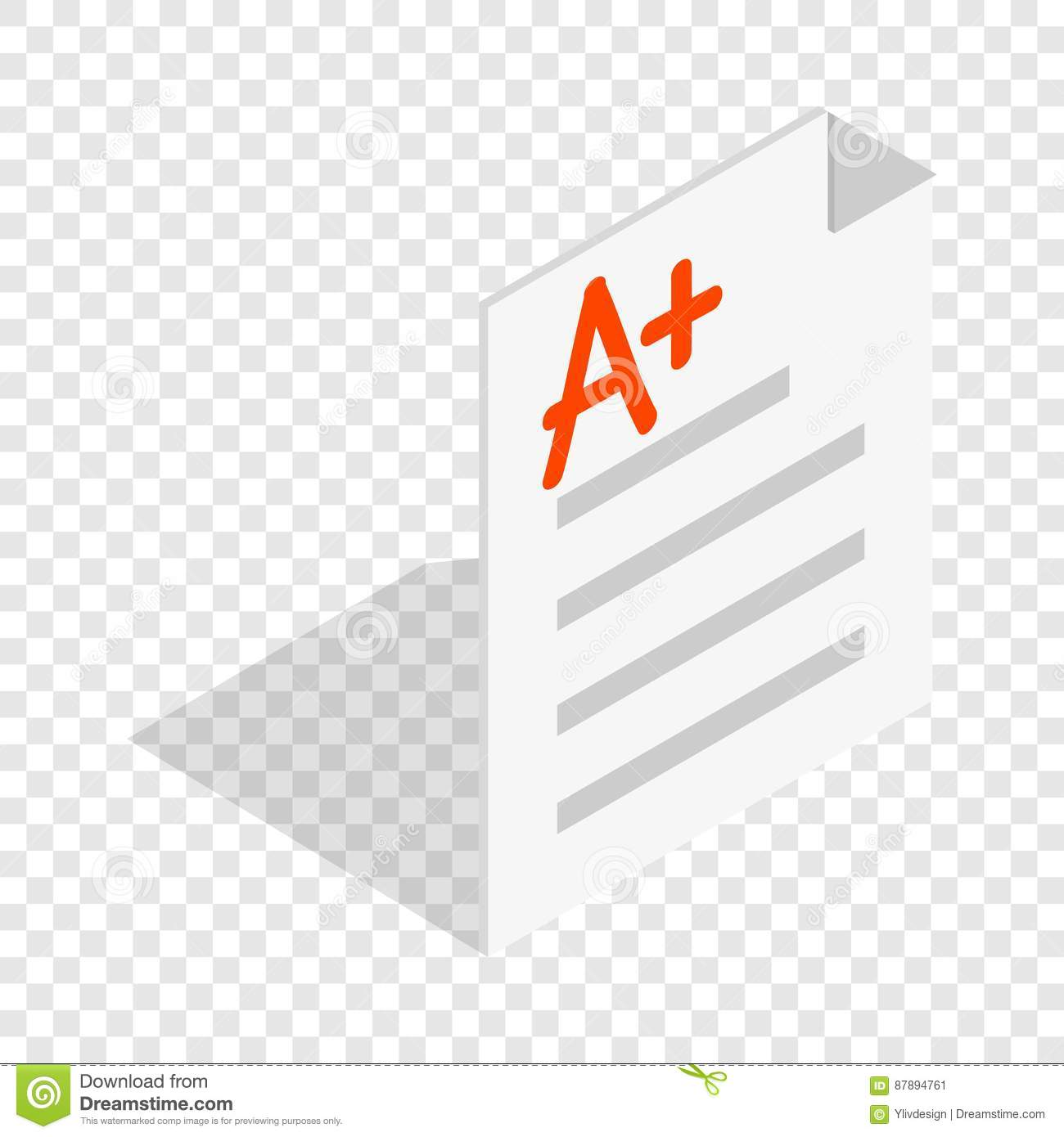 Perfect Grade On A Paper Test Icon Cartoon Vector
