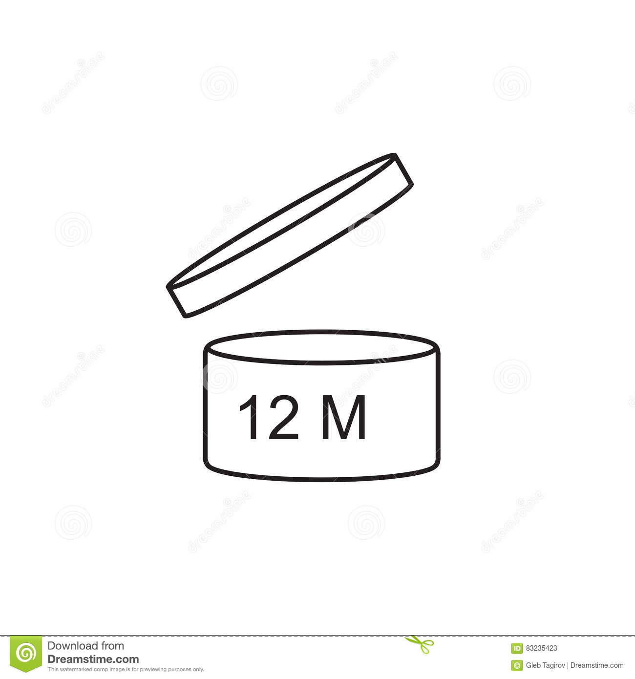 Period After Opening Use 12 Months Sign Icon Stock Vector