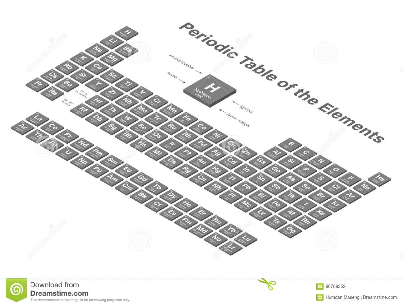 Periodic Table Of The Elements 3d Isometric Background