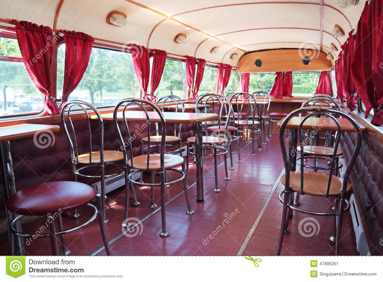 old metal chairs purple velvet chair and ottoman perm, russia - jun 11, 2013: tables in double-decker bus cafe editorial photo image: 47895251