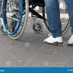 Wheelchair Genius High Chair Wooden Legs 3d Person Pushing A Human Brain Royalty Free Stock