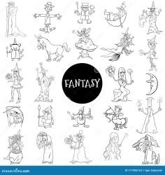 Personajes De Fantasía De Dibujos Animados Página De Un Libro De Colores De Gran Tamaño Ilustración del Vector Ilustración de personajes libro: 171496153