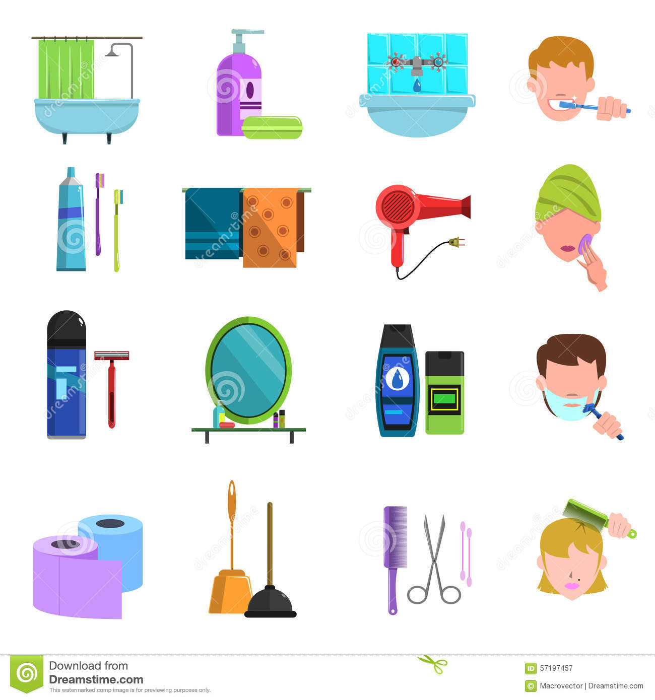 Personal Care Products Flat Icons Set Stock Vector