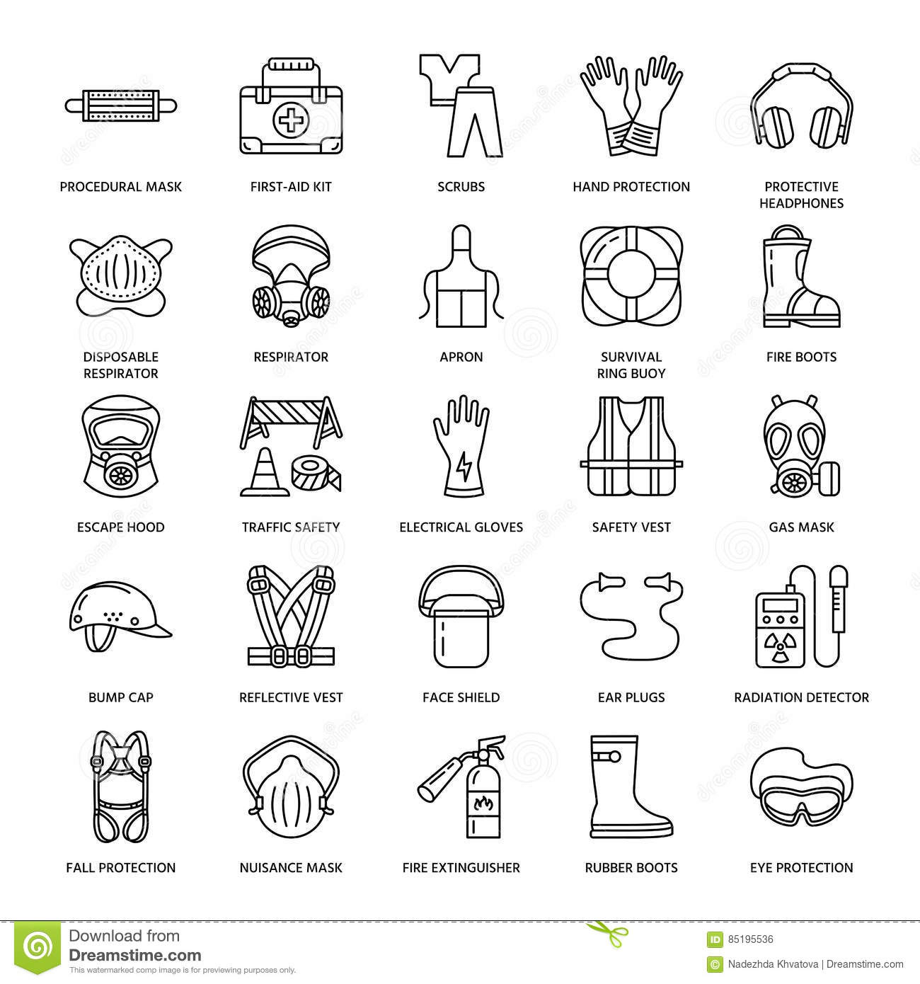 Personal Protective Equipment Line Icons Gas Mask Ring