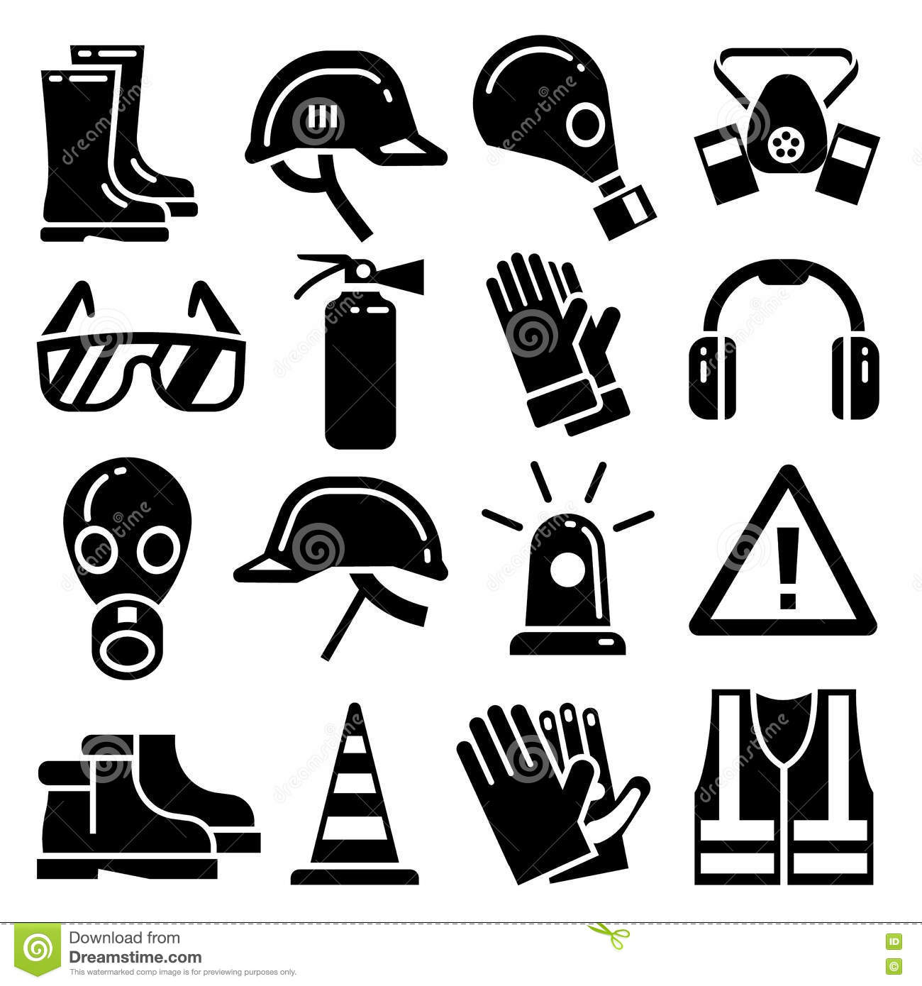 Set Of Icons Personal Protective Equipment Cartoon Vector