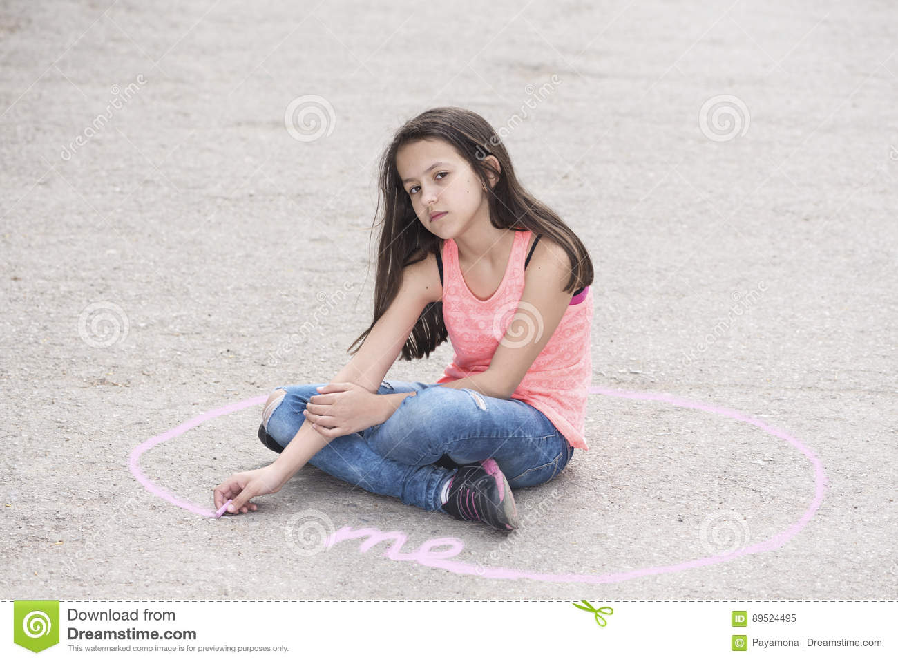 Personal Space And Preteen Girl In A Circle Stock Image