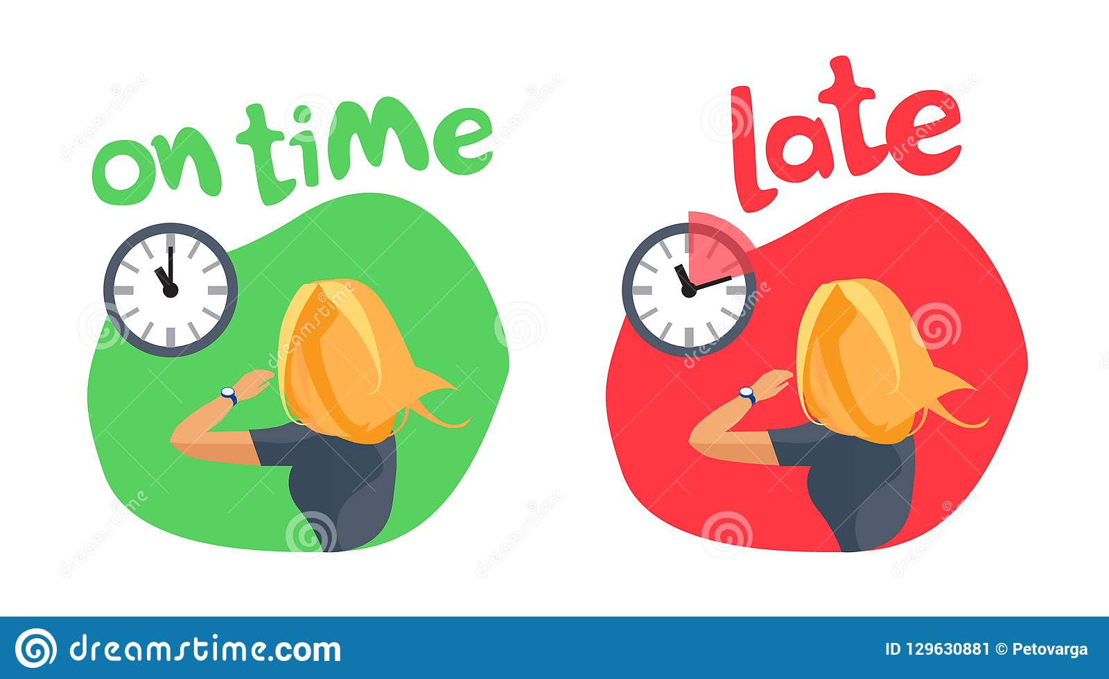 Personal Time Management Being On Time And Late Stock