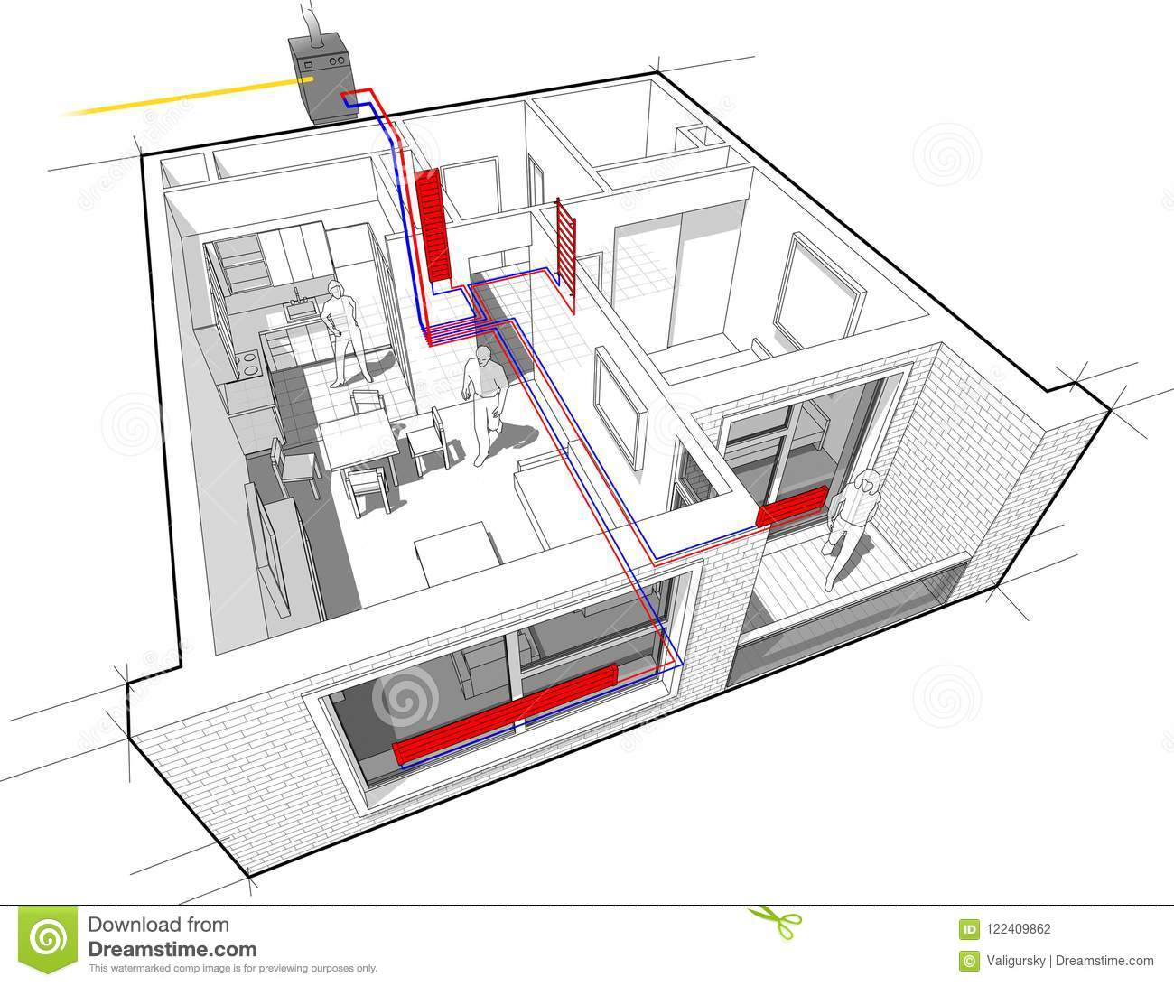 hight resolution of perspective cutaway diagram of a one bedroom apartment completely furnished with hot water radiator heating and gas water boiler as source of energy for
