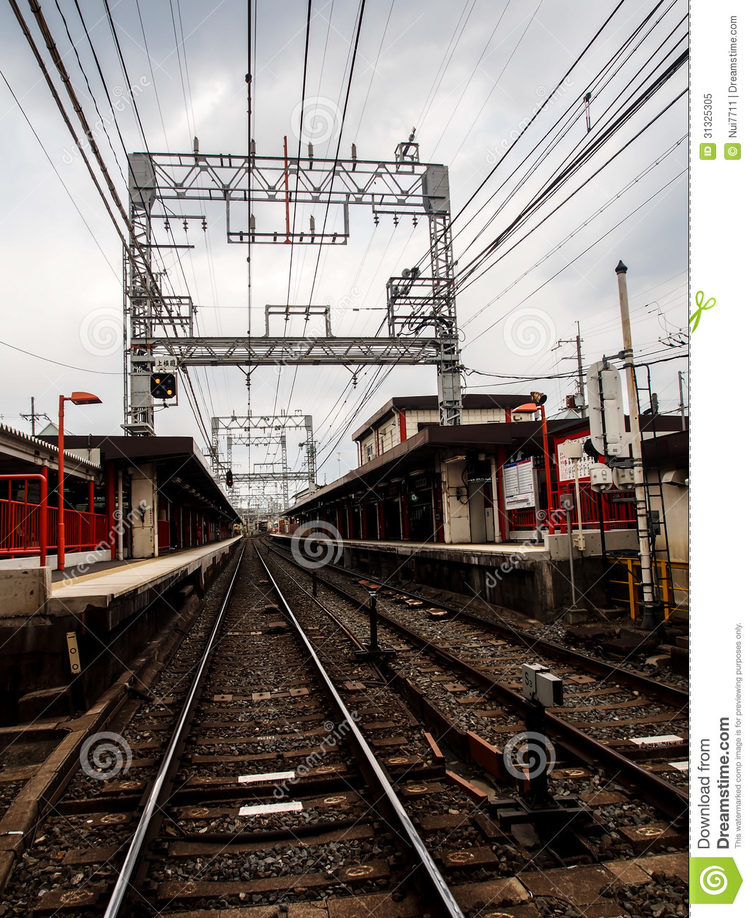 Perspective Of Local Railroad In Japan Royalty Free Stock