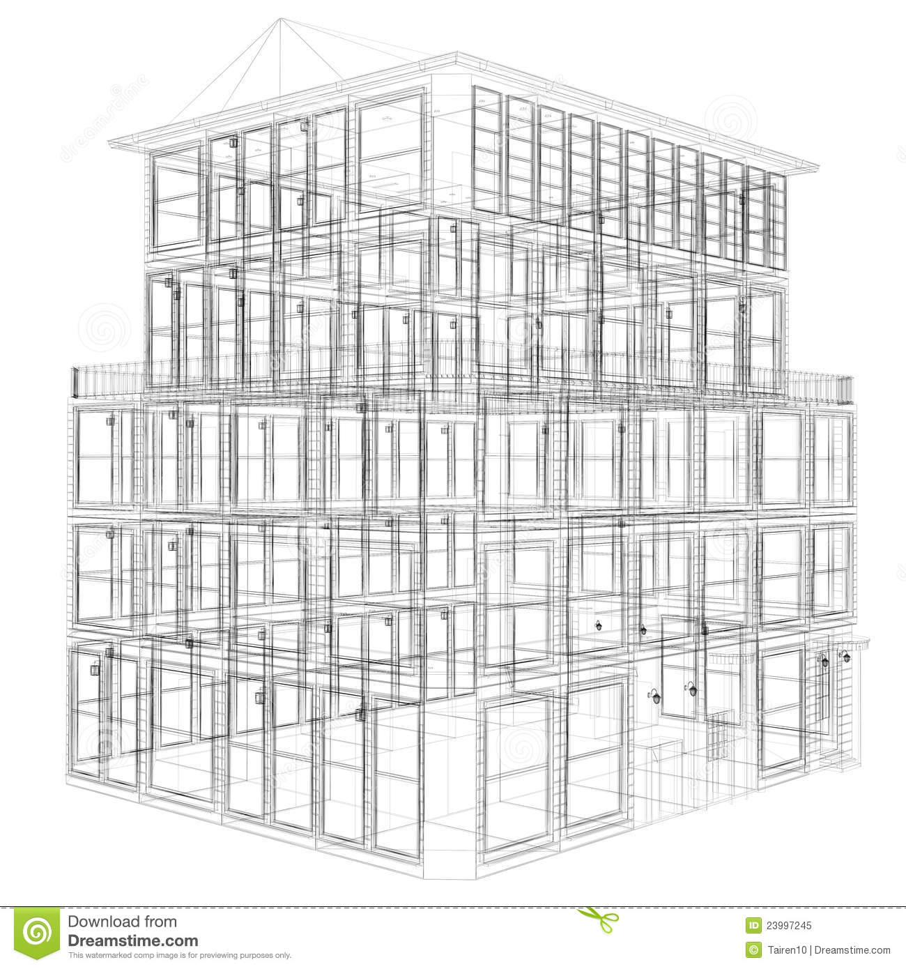 Perspective View Of Wireframe Building Royalty Free Stock