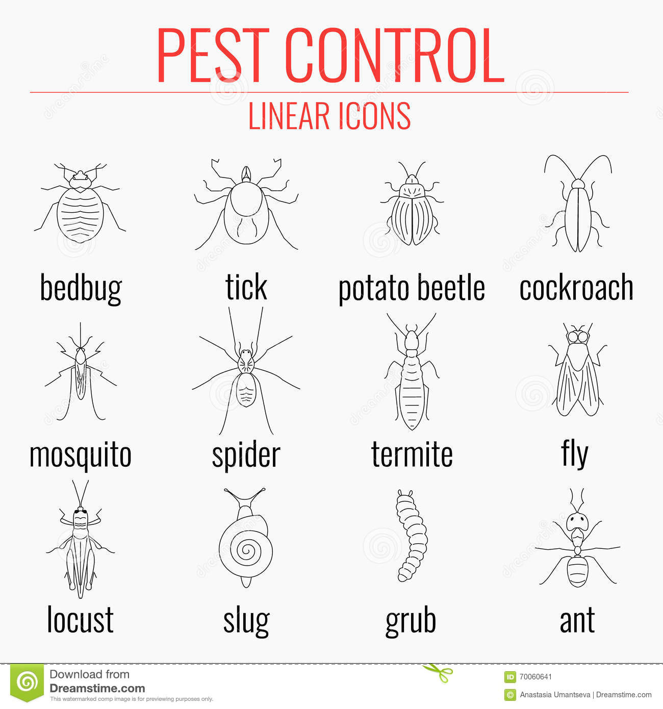 Pest Control Icon Set With Names Of Insects Stock Vector