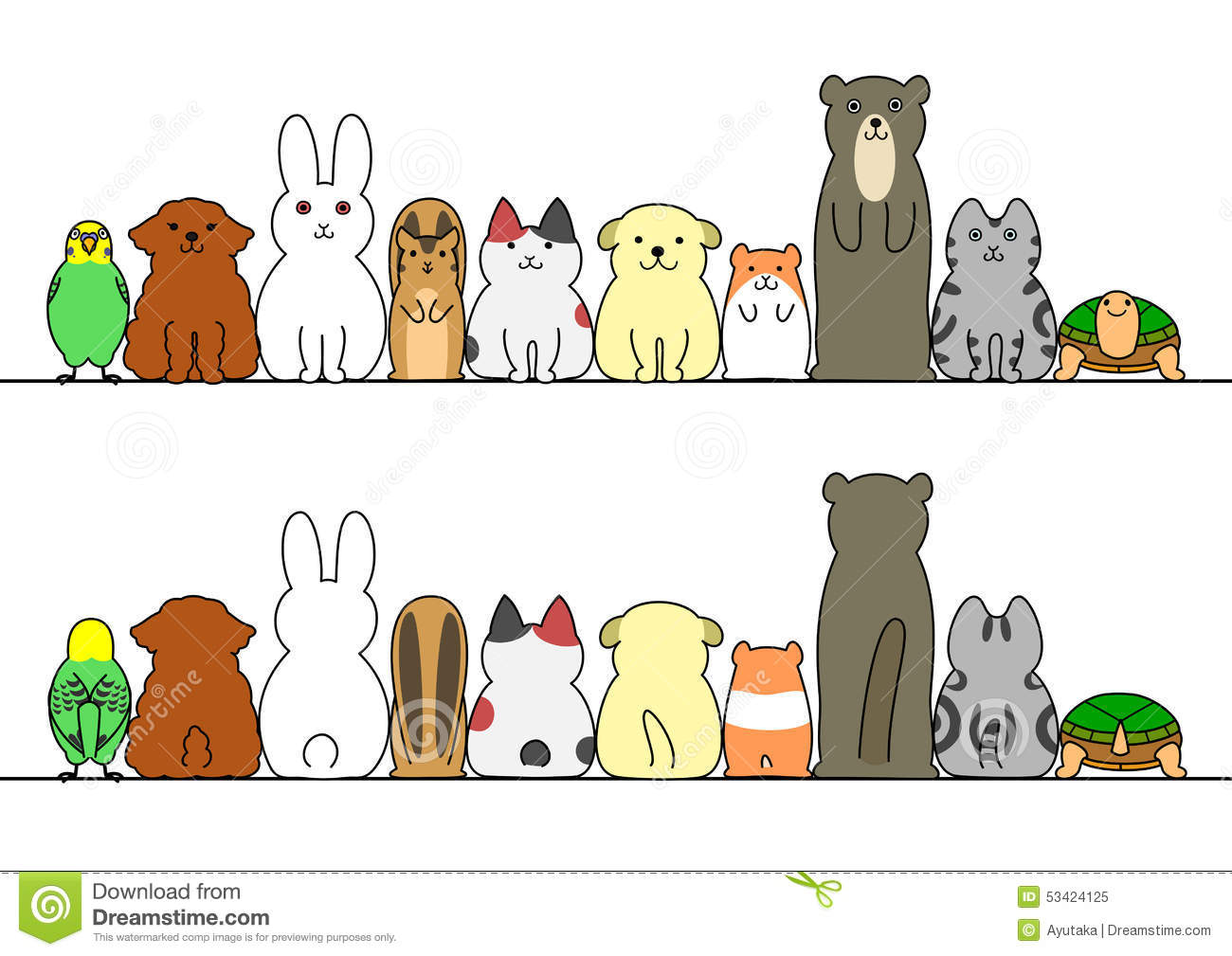 Pet Animals In A Row With Copy Space Front And Back Stock
