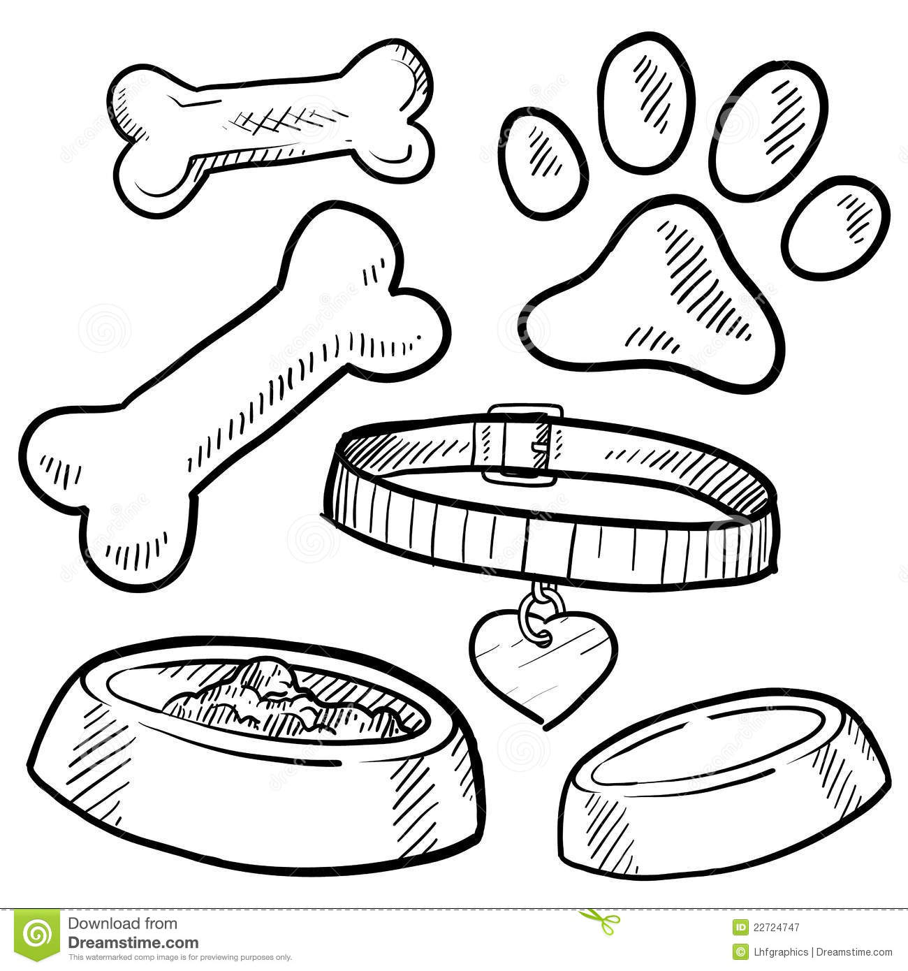 Pet Dog Items Sketch Stock Vector Illustration Of Treat