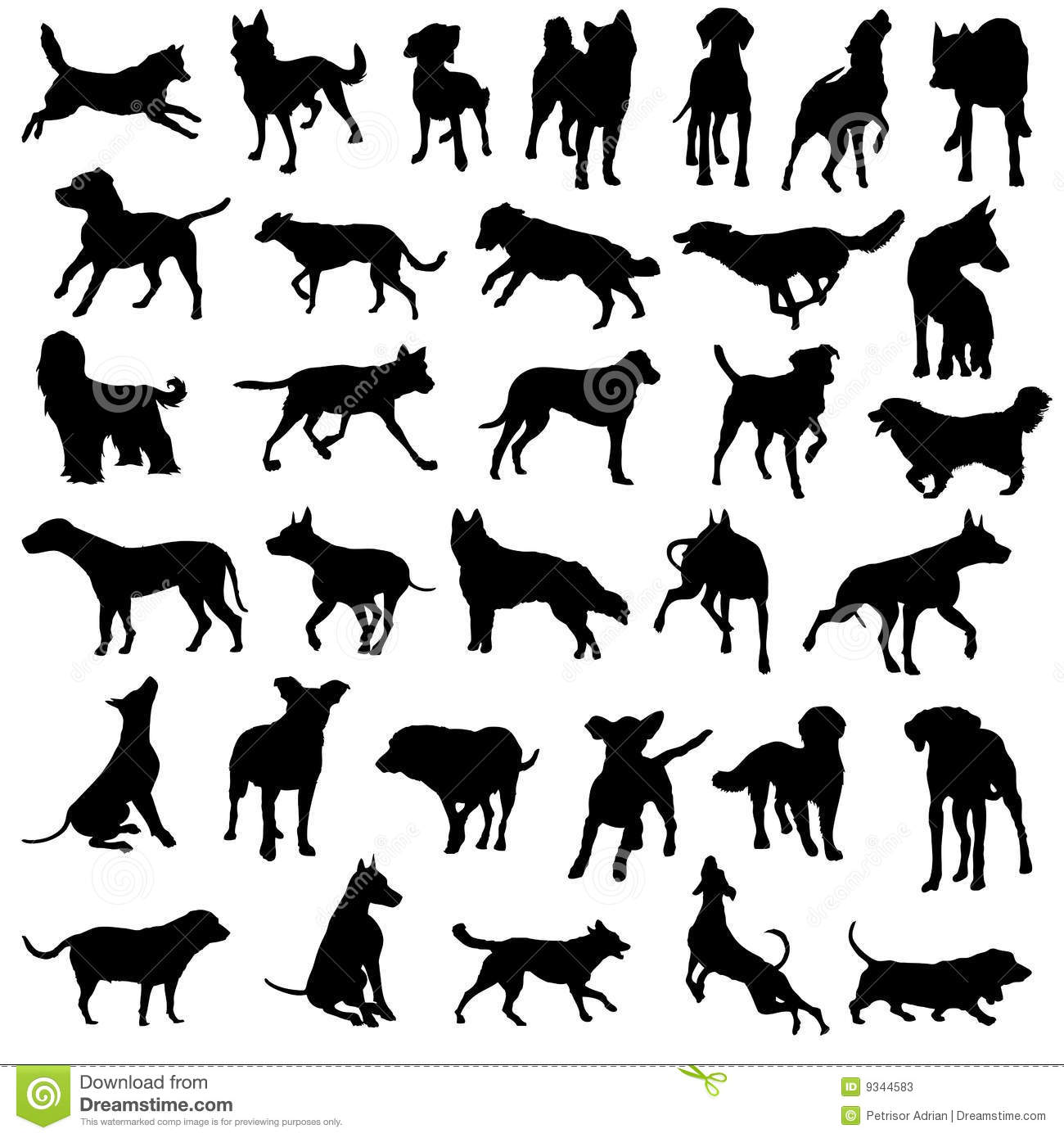 Pet Dogs Silhouette Vector Collection Stock Vector